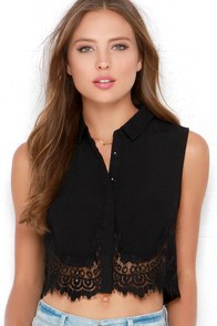 Half Time Honey Black Lace Crop Top at Lulus.com!