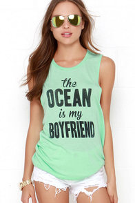 The Ocean is My Boyfriend Mint Green Muscle Tee at Lulus.com!
