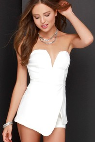 For Sienna Love Story of My Life Ivory Strapless Romper at Lulus.com!