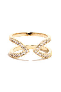 Just Between Us Gold Rhinestone Ring at Lulus.com!