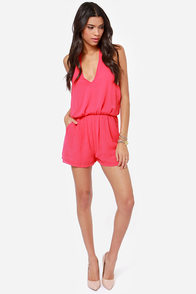 Halter Ego Backless Fuchsia Romper at Lulus.com!