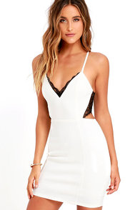 Heartbeat Song Black And Ivory Backless Lace Dress at Lulus.com!