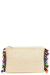 Festival Frenzy Beige Pompom Clutch at Lulus.com!