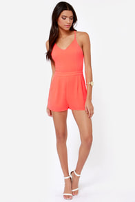 California Calling Backless Neon Coral Romper at Lulus.com!