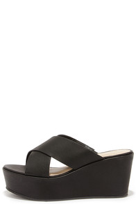 Slide Away Black Flatform Sandals at Lulus.com!