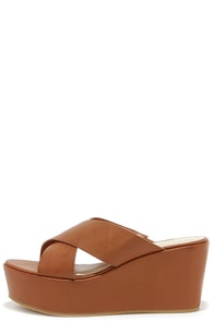 Slide Away Tan Flatform Sandals at Lulus.com!