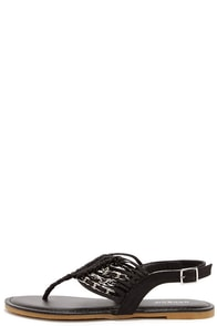 Chains Encounter Black and Silver Thong Sandals at Lulus.com!