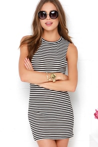 Billabong Passer By Black and Ivory Striped Dress at Lulus.com!