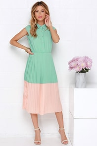 Sugarhill Boutique Penelope Peach and Mint Green Midi Dress at Lulus.com!