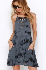 Amuse Society Hayden Black and Slate Blue Tie-Dye Print Dress at Lulus.com!