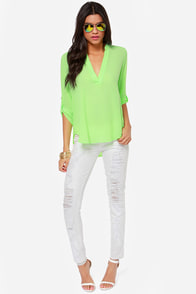 V-sionary Neon Green Top