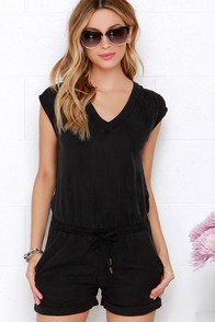 Dittos Courtney Washed Black Romper at Lulus.com!