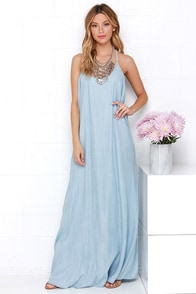 Heritage Blue Chambray Maxi Dress at Lulus.com!