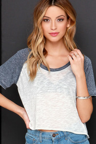 MVP Grey and Ivory Burnout Crop Tee at Lulus.com!