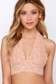 You Halter Know Blush Lace Bralette at Lulus.com!