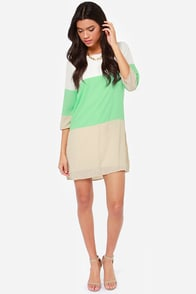 LULUS Exclusive Citrus Grove Beige and Mint Shift Dress at Lulus.com!