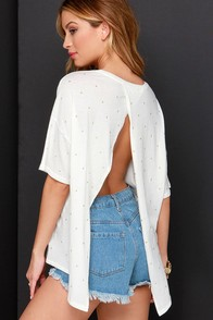 Amuse Society Zephyr Backless Ivory Studded Top at Lulus.com!