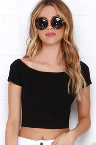 Chic of the Crop Black Off-the-Shoulder Crop Top at Lulus.com!