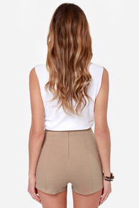 Hot Spot Beige High-Waisted Shorts at Lulus.com!