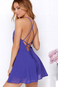 Bring it Back Royal Blue Backless Romper