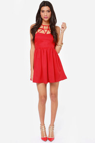 Can't Cage Me Red Dress at Lulus.com!