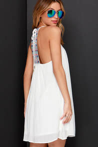 Tiki Hut Embroidered Ivory Dress at Lulus.com!