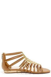 Very Volatile Selkie Tan Leather Gladiator Sandals at Lulus.com!