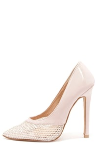 Toe Story Nude Patent and Mesh Pointed Pumps at Lulus.com!
