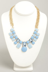 One Cool Chiclet Periwinkle Rhinestone Necklace at Lulus.com!