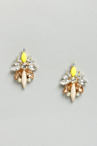 What a Gal Yellow Rhinestone Earrings at Lulus.com!