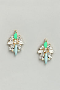 What a Gal Green Rhinestone Earrings at Lulus.com!