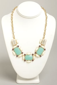 What a Gem Mint Rhinestone Necklace at Lulus.com!