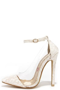 Clear the Floor White Lace Ankle Strap Heels at Lulus.com!