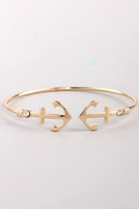 Nautical You Need Gold Rhinestone Bracelet at Lulus.com!