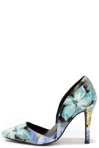 Elegant Arrangement Blue Floral D'Orsay Pumps at Lulus.com!