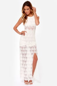 Black Swan Illusion Ivory Lace Maxi Dress