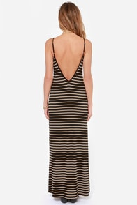 On the Line Tan and Black Striped Maxi Dress at Lulus.com!