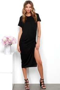 Knot a Moment to Lose Black Wrap Midi Dress at Lulus.com!