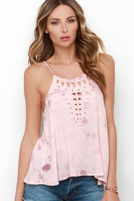 Amuse Society Landslide Blush Pink Tie-Dye Top at Lulus.com!