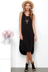Midnight Lady Black Midi Dress at Lulus.com!