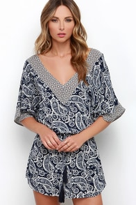 Alongshore Navy Blue Print Dress at Lulus.com!