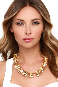 Facets of Glamor Amber Rhinestone Statement Necklace at Lulus.com!