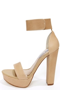 Steve Madden Cluber Natural Ankle Strap Platform Heels