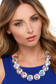 Hear Me Aurora Iridescent Rhinestone Statement Necklace at Lulus.com!