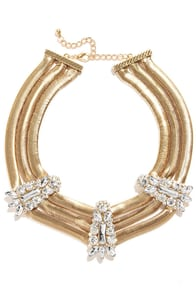 Chica Wow Wow Gold Rhinestone Statement Necklace at Lulus.com!