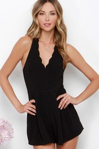 All Too True Black Scalloped Romper at Lulus.com!