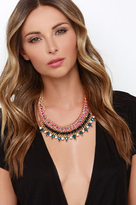 Wild Nights Black and Teal Rhinestone Statement Necklace at Lulus.com!