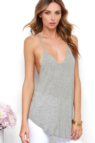 Tetherball Champ Heather Grey Tank Top at Lulus.com!