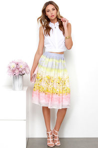 Olive & Oak Sweet Lemonade Pastel Multi Print Midi Skirt at Lulus.com!