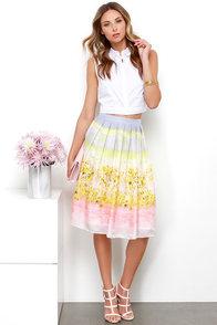 Olive & Oak Sweet Lemonade Pastel Multi Print Midi Skirt at Lulus.com!